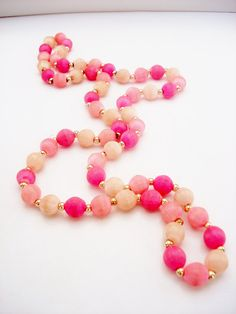 Vintage Unsigned Single Strand Pink and by TheEclecticElement2, $8.00