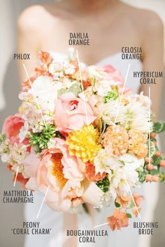 Floral bouquets bring with them infinite possible combinations that can easily confuse an up and coming bride-to-be. Luckily, Jo from Floral Magic has agreed to share some bouquet & that will make planning your wedding a bit easier! Yellow Bouquets, Floral Bouquets, Coral Peony Bouquet, Peach Bouquet, Bouquet Flowers, Floral Wedding, Wedding Colors, Yellow Wedding Flowers, Spring Wedding