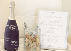 wine gift bag ideas... Leave a note of congratulations or just a signature on a painted wine bottle.