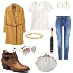 OneOutfitPerDay 2016-09-21 - #ootd #outfit #fashion #oneoutfitperday #fashionblogger #fashionbloggerde #frauenoutfit #herbstoutfit - Frauen Outfit Herbst Outfit Outfit des Tages Sommer Outfit 7/8 Jeans Armband BecksÃndergaard Blau Boots Closed Dr.Hauschka Lippenstift Mango Mantel Ohrringe Pilotenbrille Sabrina Sabrina Dehoff Schmoove Héroïne Sheego Casual STEEL by Christ Stiefeletten Sunglass Junkie T-Shirt Top Violeta by Mango weiss Wollmantel