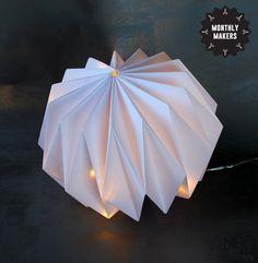Origamilampa av Annica på Inspirami Bookbinding, Paper Art, Origami, January, Experiment, Creative, Art Ideas, Diy, Inspiration