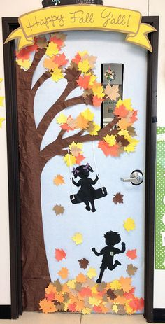 - - Landscaping iDeas Crafts For Kids 🍂 fall crafts - - Halloween Classroom Door, Fall Classroom Decorations, School Door Decorations, Halloween Door Decorations, Halloween Crafts, Thanksgiving Classroom Door, Thanksgiving Door Decorations, Halloween Kids, Autumn Crafts