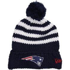 New Era New England Patriots Ladies Chunky Stripe Knit Ski Hat - Navy Blue