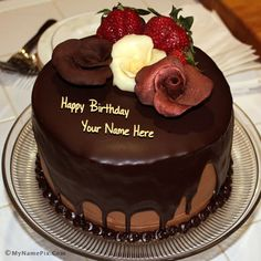 Chocolate Birthday Cake With Rose Name Pix 84a2