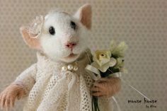 Сutie Mouse, Needle Felted Mouse, White Mouse, Soft Sculpture, Dressed Mouse…
