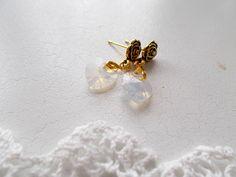 Swarovski 10 mm opal heart on rose stud earrings by RicePaperJewels on Etsy