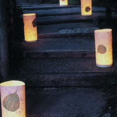 Tap-light luminarias sold 6 to a case at hardware stores...tape or glue leaf or other embellishment on the candle and then wrap with rice paper using double stick tape.  Place them all around the yard and tap to turn the light on.