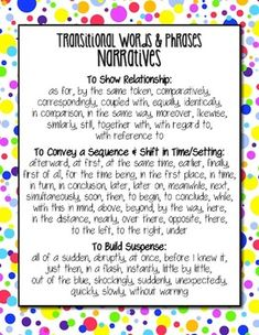 FREE Download: Common Core Writing Transitional Words Anchor Charts - Narrative Transitions