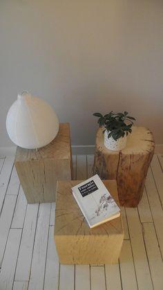 Table de salon table basse faite de 3 chevets en bois chêne massif