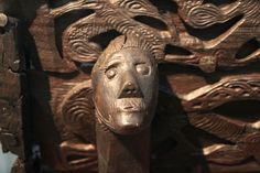 Closeup of a carving on a Viking horse cart in the Viking Ship Museum located at Bygdøy in Oslo, Norway.