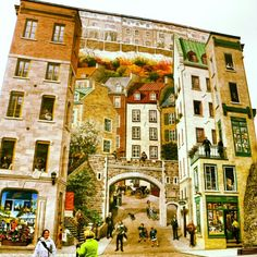 Canada. Quebec. graffiti in old quebec. Can you tell where do 2D people end and real people begin? :