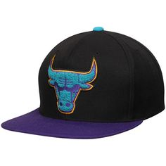 Chicago Bulls Mitchell & Ness Aqua Chenille Snapback Adjustable Hat - Black/Purple - $34.99