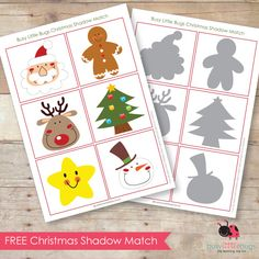 Free Christmas Shadow Matching Cards or 2 of each and play pelmanism Printable Christmas Games, Christmas Activities For Kids, Preschool Christmas, Toddler Christmas, Noel Christmas, Christmas Themes, Holiday Crafts, Holiday Fun, Holiday Decor