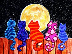 Meowing At Midnight - colourful cats on a fence (painting)