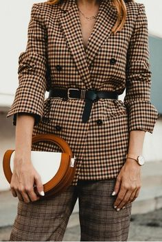 Women's Blazer Outfit Ideas To Conquer Everything Plaid Suit, Plaid Blazer, Blazer Outfits, Casual Outfits, Checkered Suit, Camel Blazer, Overalls Outfit, Plaid Pants, Plaid Fashion