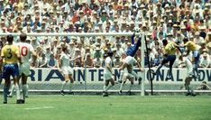 12th June 1970. England goalkeeper Gordon Banks makes an amazing save from Brazil's Pele as Alan Mullery finds himself out numbered on the back post.