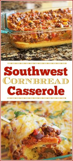 Southwest Cornbread Casserole - - I'm a big fan of cornbread (who isn't, seriously!) Buttermilk Cornbread is my all time favorite (see it here) with its super moist and slightly crumbly texture. It's good stuff, f…. Mexican Dishes, Mexican Food Recipes, Beef Recipes, Dinner Recipes, Cooking Recipes, Recipies, Dinner Ideas, Easy Cooking, Leftover Chili Recipes