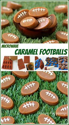 Easy Microwave Caramel Footballs with white chocolate laces will sweetened up your Super Bowl Party. See the recipe at HungryHappenings.com. #HomeBowlHeroContest