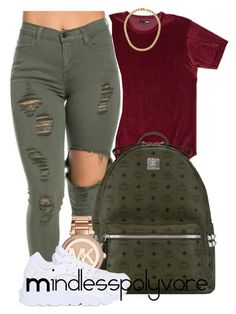 """""""We putting on a show , the kind you like to see"""" by mindlesspolyvore ❤ liked on Polyvore featuring MCM, Michael Kors and NIKE"""