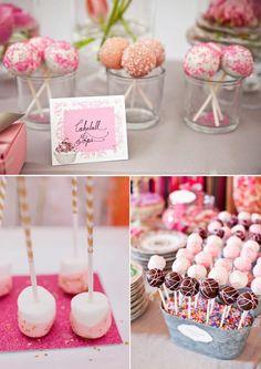 Cake pops para mesas de postres en tonos rosas
