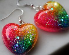 Earrings Dangle Neon Rainbow Glitter Jewelry, Cute Earrings, sparkly resin dangle style earrings, rainbow hearts handcrafted by isewcute – Earrings 2020 Cute Earrings, Heart Earrings, Etsy Earrings, Dangle Earrings, Diy Resin Crafts, Diy Resin Art, Neon Rainbow, Rainbow Heart, Kawaii Jewelry