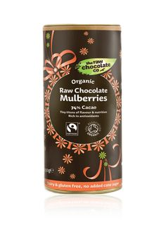 Raw Chocolate Mulberries Gift Pack 150g also available in 100g, 200g and 32g Snack Pack www.therawchocolatecompany.com
