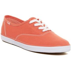 Keds Oxford Sneaker ($25) ❤ liked on Polyvore featuring shoes, sneakers, coral, laced up shoes, oxford sneakers, round toe shoes, keds and keds shoes