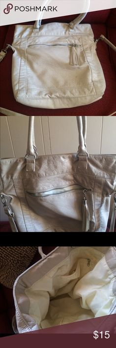 Cream Colored Soft Leather Purse Cream soft leather purse from PacSun. 2 short handles and a long shoulder strap. Some general spots on the inner lining, but nothing major. PacSun Bags Satchels