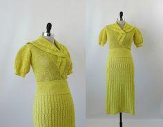 Vintage 1930s Knit Dress Set Yellow Cotton S by 4birdsvintage, $175.00