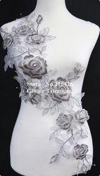 Online Shop Grátis frete 1 PC x longo prata / cinza flor bordados decote Lace Applique Trims Collar Organza Base de costura DIY artesanato BNC43B Aliexpress Mobile