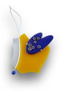 Pamela Ritchie.  2010 Brooch sterling, plexiglas, enamel, lapis lazuli. 10.2 h x 6.8 w x 1.2 d