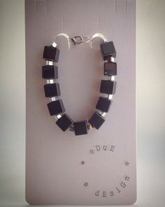 Beaded Bracelet - Hematite Cubes with Silver Cube Spacer Beads