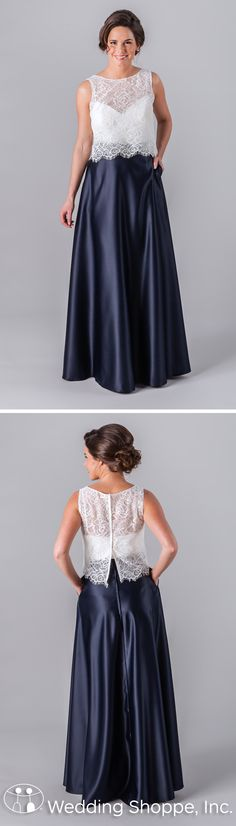 A two-piece bridesmaid dress from Kennedy Blue featuring a lace illusion neckline top and long satin skirt.