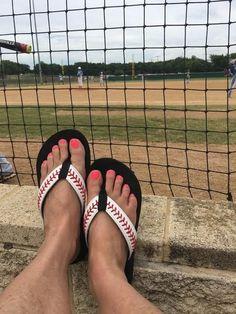 Cocomo Soul Leather Stitch Baseball Flip Flops Womens #BaseballBoys