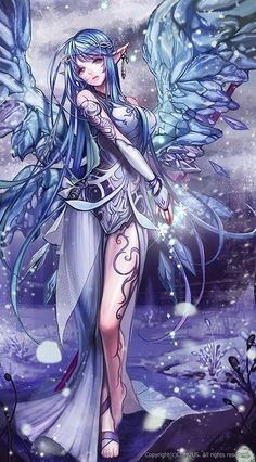 Blue hair, butterfly wings, fantasy.: