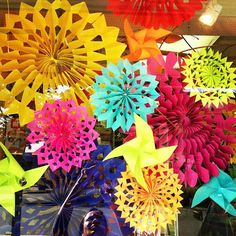 Giant colourful snowflakes in our stores window!