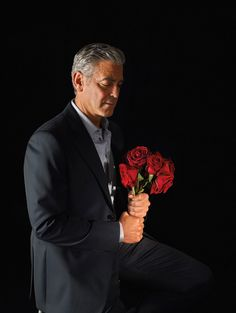 George Clooney in a Giorgio #Armani suit and Emporio Armani shirt