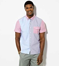 AE Paneled Short Sleeve Button Down Shirt - Slim Fit