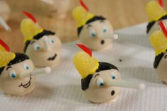Pinocchio Cake Pops! I want to have a Pinocchio theme party just to have an excuse for making them. So cute!