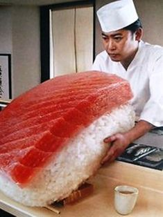 Is this the world's largest piece of nigiri sushi? #Japan #noms