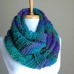 Knit Infinity Scarf Jewel Tones Blue Purple Green Drop Stitch Original   PhylPhil - Knitting on ArtFire