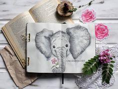 Elephant - Elefányt OszlánszkiART Elephant, Bullet Journal, Tableware, Diy, Elephants, Dinnerware, Bricolage, Tablewares, Diys