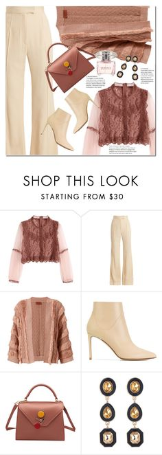 """""""Mesh Sleeves Lace Crop Top Brick-red"""" by duma-duma ❤ liked on Polyvore featuring Khaite, Missoni, Francesco Russo and Versace"""