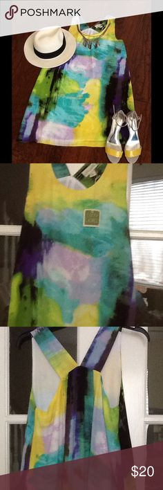 Fabulous multicolor dress NWT💕💕 Love this dress great for vacation💕💕just above the knees I am short just under 5' so probably a little more like a mini to taller people😍 lucy and laurel Dresses Mini