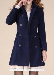 $18.29 Fashionable Style Polyester Double-Breasted Solid Color Tailored Collar Coat For Women