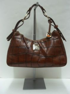 Dooney Bourke Brown Crocodile Embossed Leather Hobo Shoulder Handbag