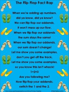 Addition: The Flip Flop Fact Rap (Commutative Property) by Primary Paradise Math Classroom, Kindergarten Math, Teaching Math, Classroom Ideas, Maths, Teaching Ideas, Math For First Graders, Third Grade Math, Second Grade