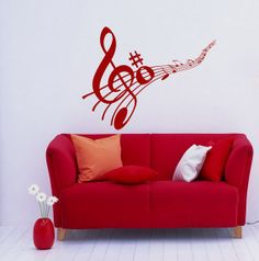 Note Notes Waves Music Musical Treble Clef Housewares Wall Vinyl Decal Sticker Design Interior Decor Bedroom Recording Music Studio SV4084