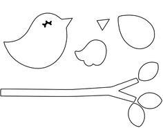 Amigurumi and Materials: Felt Molds and Hello Again . Felt Templates, Applique Templates, Applique Patterns, Felt Crafts, Diy And Crafts, Bird Template, Techniques Couture, Felt Birds, Felt Christmas Ornaments