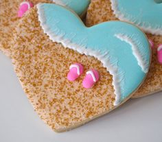 Decorated Summer cookies | Summer Lovin' Beachy Heart shaped cookies
